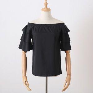 Black Ruffle Sleeve off shoulder blouse top Sz L